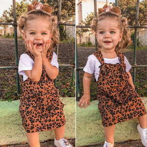 Fashion Kids Girls Leopard Bib Braces Overalls Outfit