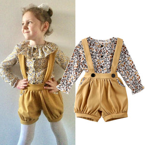 Floral Tops Cotton Flower Overalls Suit With Blouse Outfit