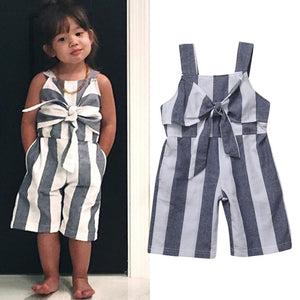 Kids Girls Striped Bow Jumpsuit Outfits