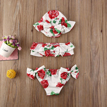 Load image into Gallery viewer, Summer 3 pieces Flower Bikini Swimsuit Set