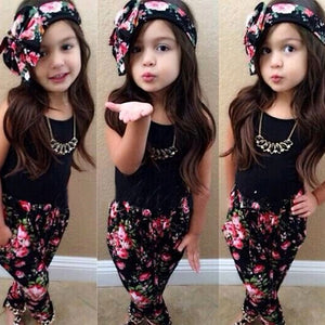Girls Fashion Floral Casual Clothing Set