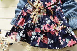 Girl Princess  Denim Floral dress Outfit