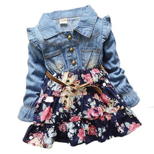 Load image into Gallery viewer, Girl Princess  Denim Floral dress Outfit