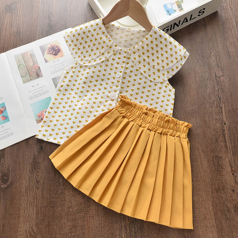 2Pcs Sleeveless Love Pattern T-shirt+ Elasticated Waist Skirt