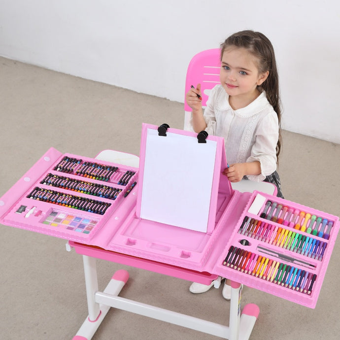 208 PCS Colored Pencil Crayon Watercolors Pens With Drawing Board Drawing Set