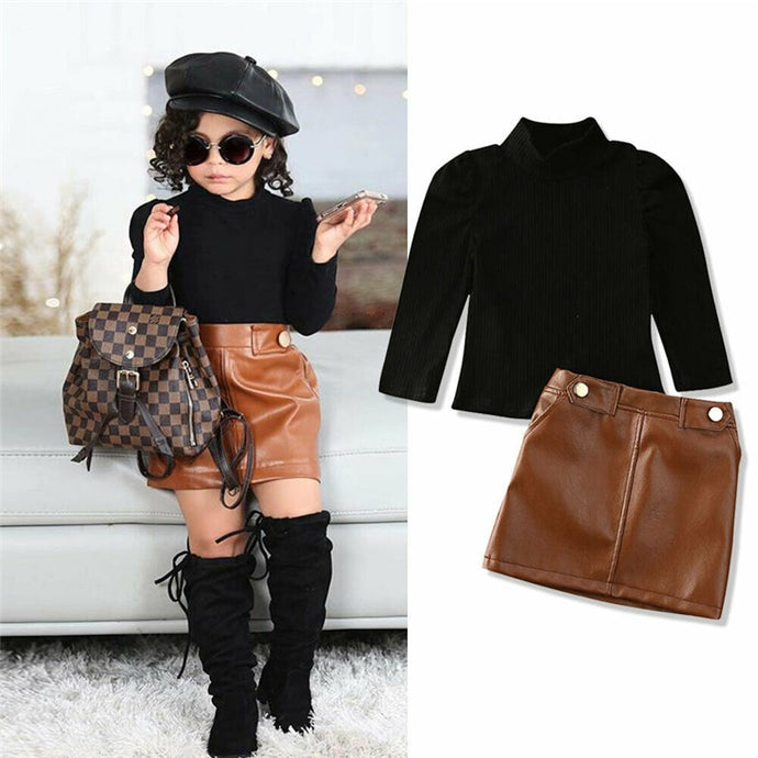 2 Pieces Turtle Neck Tops+PU Leather Skirt