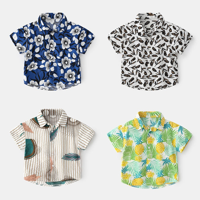 2-7T Floral Boho Beach Baby Boys Shirt