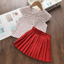 Load image into Gallery viewer, 2Pcs Sleeveless Love Pattern T-shirt+ Elasticated Waist Skirt