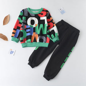 2pcs Longsleeve Letter Print Children's Clothing