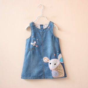 Cute mouse Denim Jeans Overalls Sleeveless Dress
