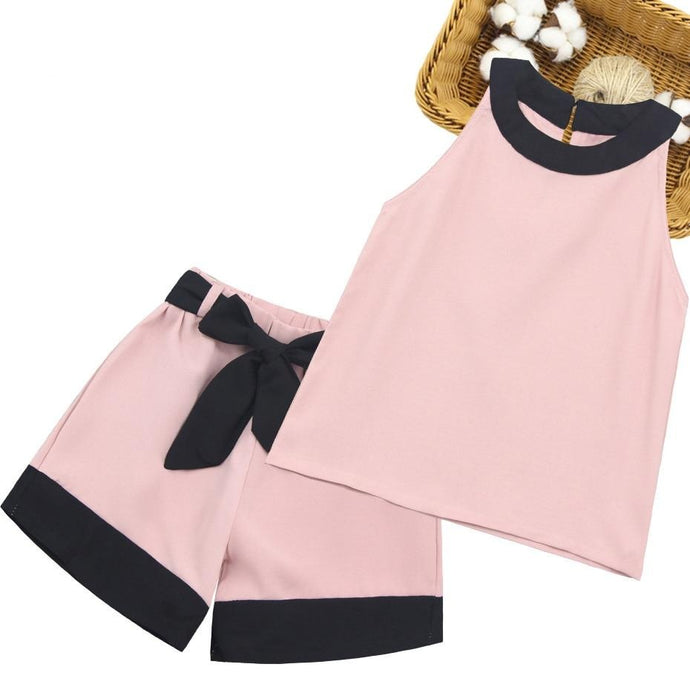 2PCS Baby Outfits Big Bow Sleeveless Blouse+ Shorts