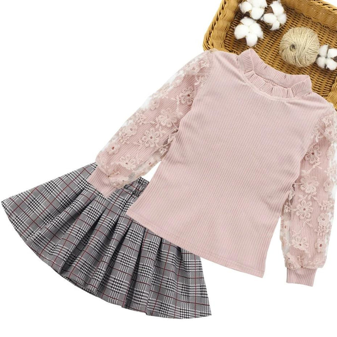 2PCS Lace Sweatshirt +Skirt Outfit