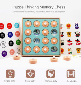 Wooden Match-It Memory Chess Game