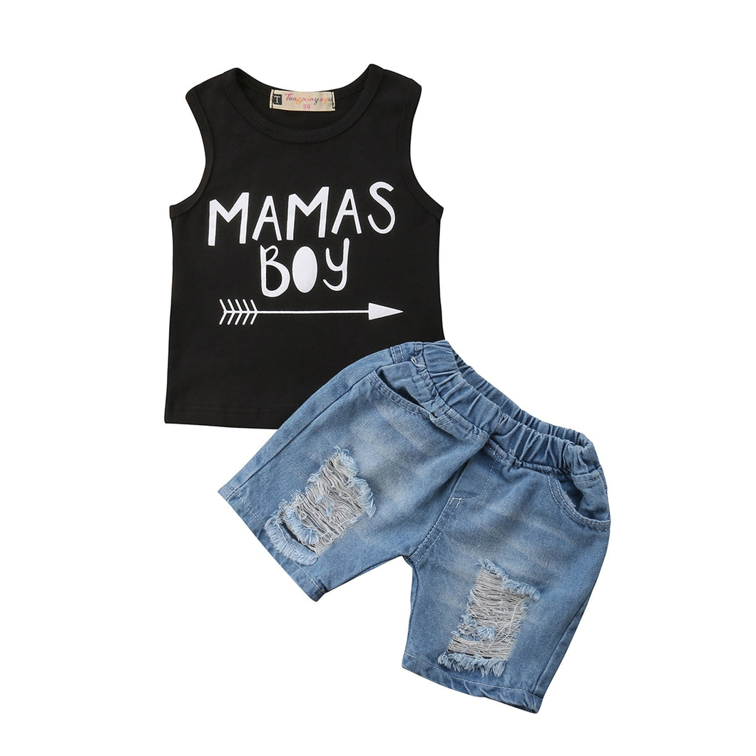 Baby Boys Hoodie T-shirt Vest+ Denim Shorts