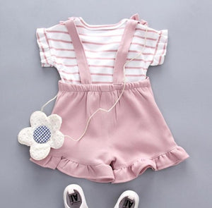 Striped Top Strap Shorts Cool Set