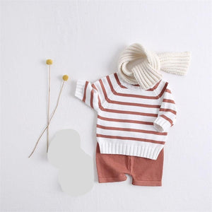 Long sleeve infant pullovers sweaters+shorts Set