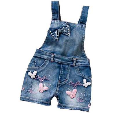 Cute Denim Romper Jumpsuits Straps Short Pants Cowboy Blue