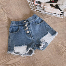 Load image into Gallery viewer, Baby Girl Denim Shorts Holes