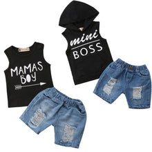 Load image into Gallery viewer, Baby Boys Hoodie T-shirt Vest+ Denim Shorts