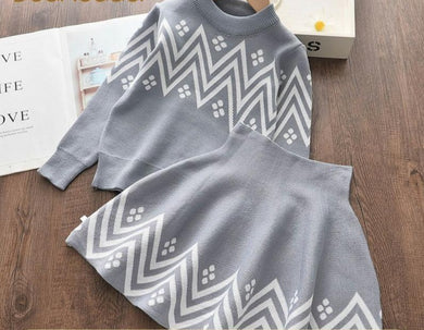 Winter Geometric Pattern Dress Long Sleeve Girls Clothes Set