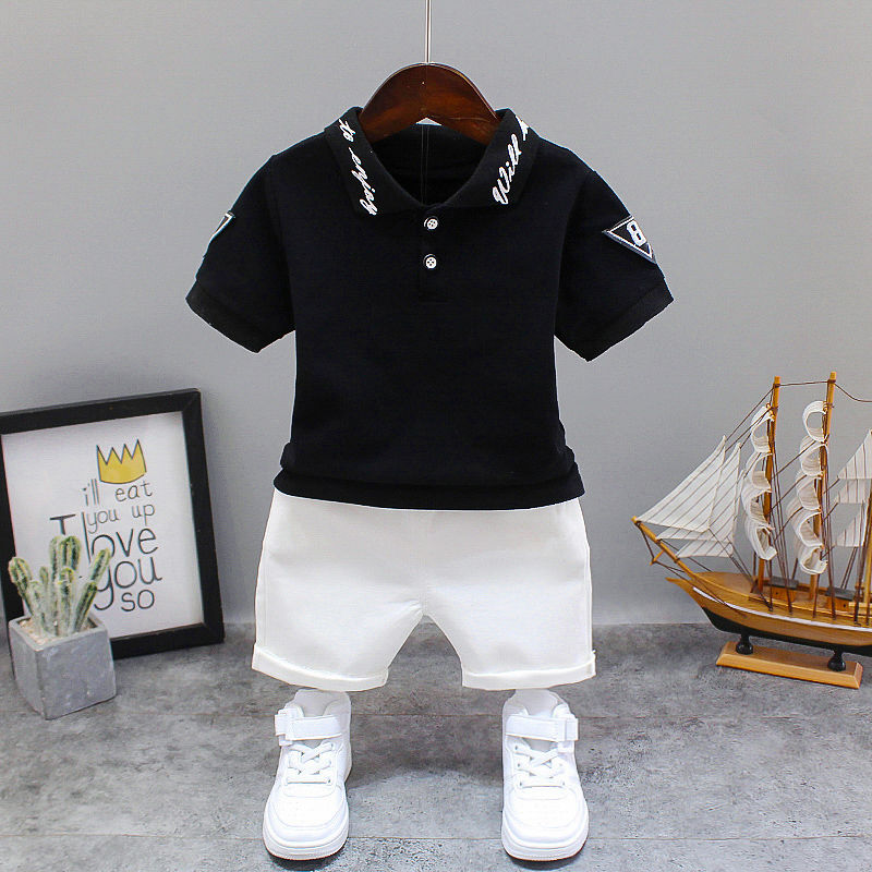 White  Black Children Kid's Sport Suit Set