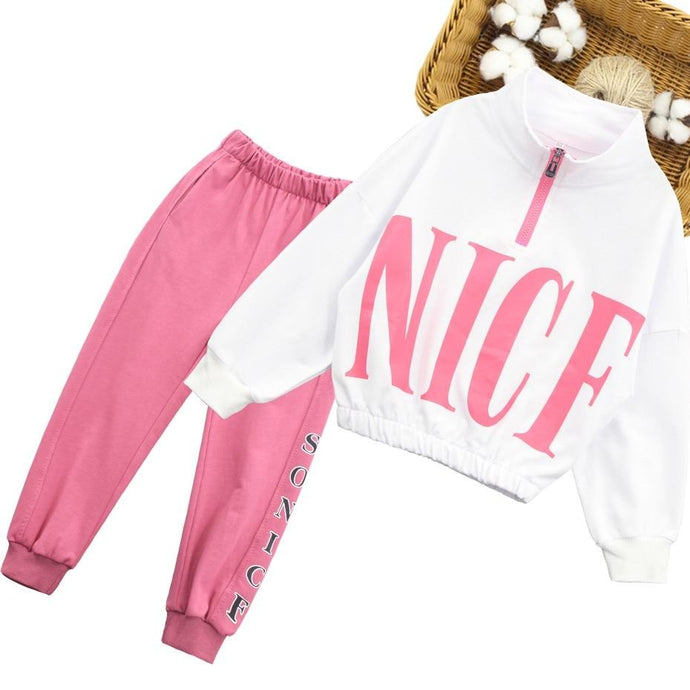 Girls Sport Clothes Set Sweatshirt + Pants