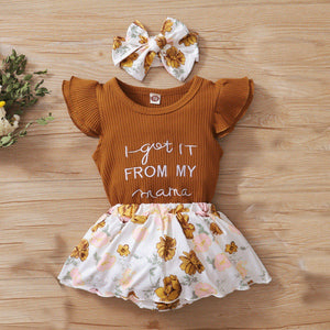 Baby Girl Jumpsuit + Floral Print Skirts + Headband Set