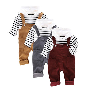 2pcs Long Sleeve Striped Hoodie Sweatshirt+Strap Trousers