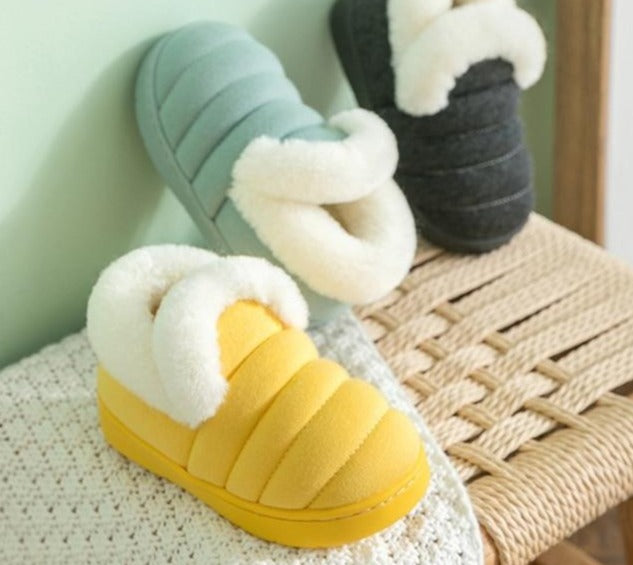 Winter Indoor Flannel Solid Plush Home Shoes