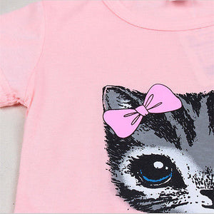 Summer Cat Print Baby Girl Dress