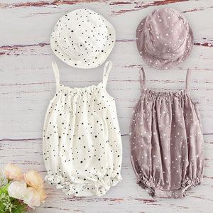 Summer Baby Girl Outfit With Cap