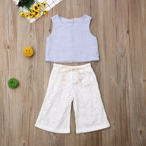 Sleeveless Top Trousers Pants Outfits Sets