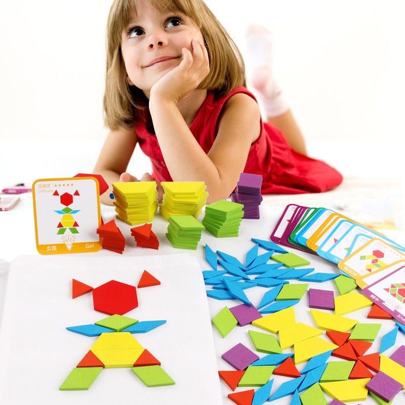 Wooden Tangram Pattern Puzzle Toy With 24 Designed Cards