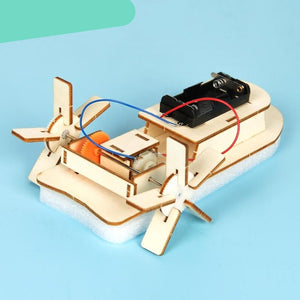 Kids DIY Electric Motor Boat Wooden Science Model Educational Toys