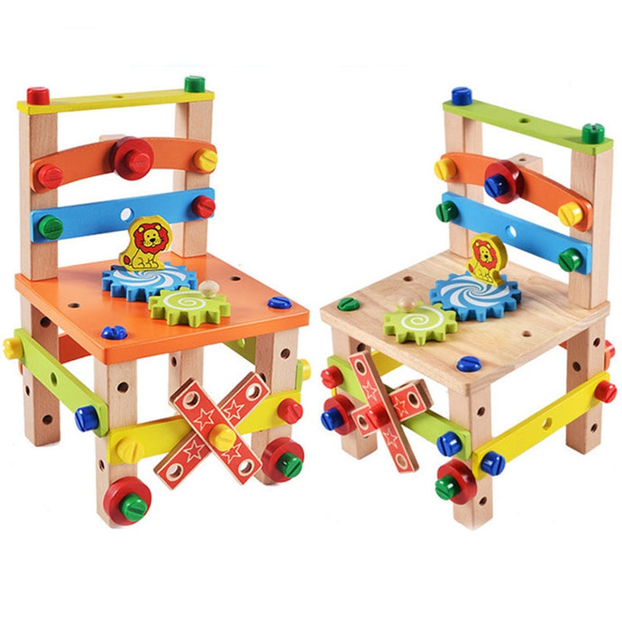 Kids Wooden Tool Assembling Chair Educational Toy