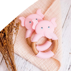 Elephant Silicone Teether Beech Wooden Ring