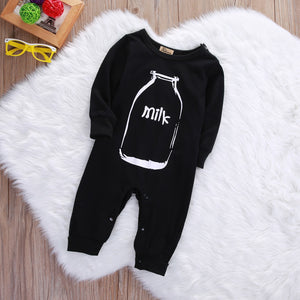 MILK Letter Baby Long Sleeve Clothes Romper