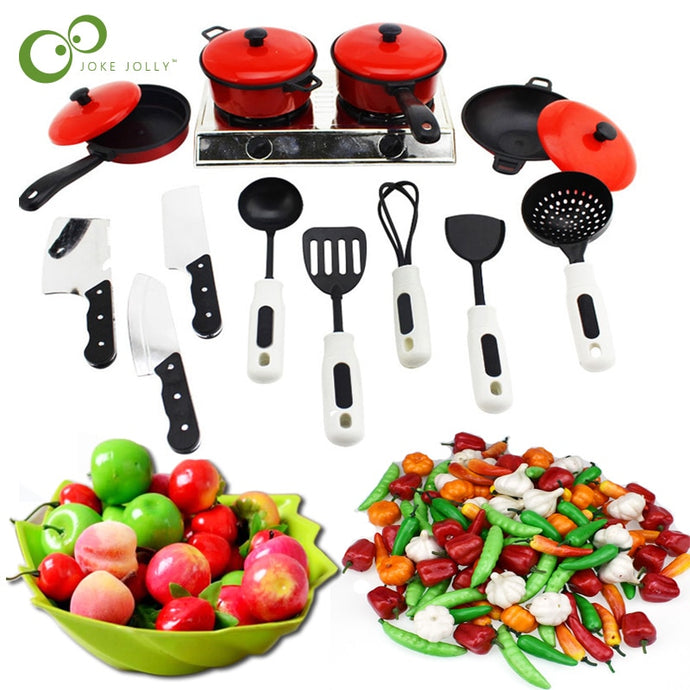 Mini Kitchen Children Cookware And Vegetables Set
