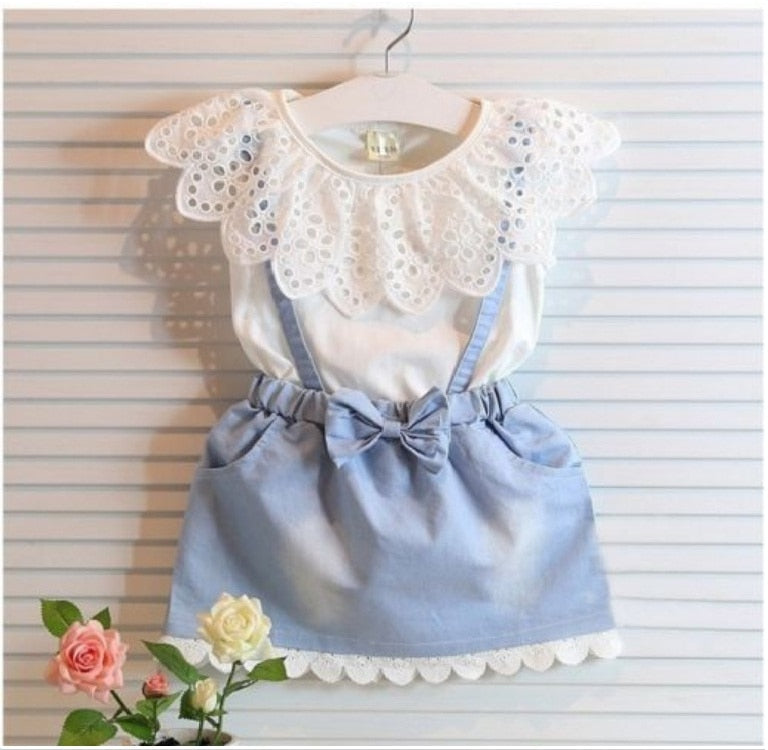 Fashion Cute Denim Tulle Bowknot Dress Set