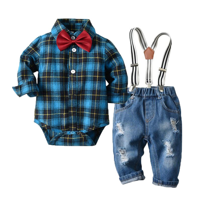 Newborn Baby Boy Denim Romper Clothes