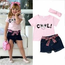 Load image into Gallery viewer, Summer Short Sleeve One Neck Tops with Denim Shorts Summer Outfit
