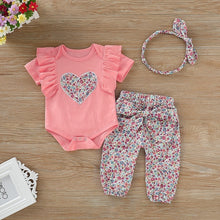 Load image into Gallery viewer, Newborn Girls Clothes Set With Hairband
