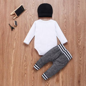 3PCS Boys  Long Sleeve Romper Statement Set