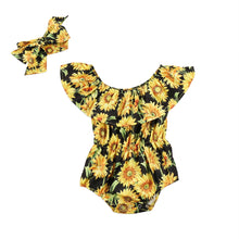 Load image into Gallery viewer, Shoulder Short Sleeve Sunflower Print Jumpsuit and Headband