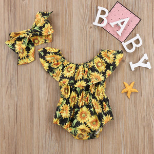 Shoulder Short Sleeve Sunflower Print Jumpsuit and Headband