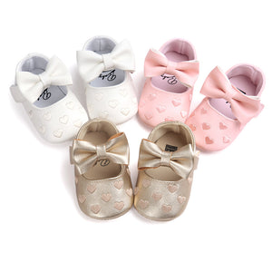 Baby Girls Princess Heart Shaped Soft Bottom Shoes