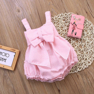 Sweet Pink Baby Girls Bow Bodysuit Summer Outfits