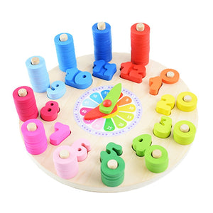Clock Counting and Shape Matching Wooden Toy