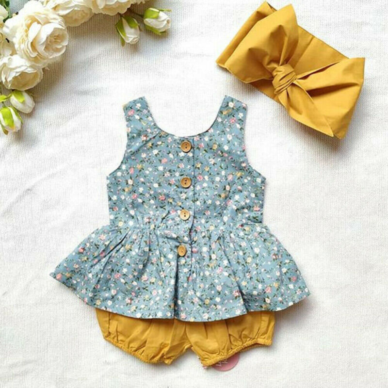 Princess Baby Girl Summer Dress Shorts Headband Outfits Sets