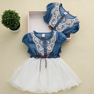 Lace Belt Denim Tulle Stitching Dresses